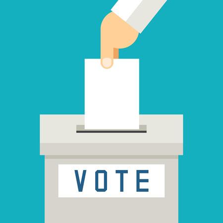 encuestando: Mano que pone la votación de papel en urnas. Referéndum y de votación, ilustración