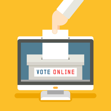 voting paper: Online voting concept background. Remote and technology, screen and innovation vote, box ballot and referendum illustration Illustration