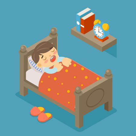 persona feliz: Feliz de dormir. Muchacho durmiente. Chico joven, persona lindo, dulce sueño, dormitorio cómodo, ilustración Vectores