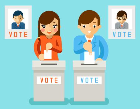 Mensen stemmen kandidaten van verschillende partijen. Verkiezing stemming, stemming en de politiek, de keuze van de democratie, illustratie