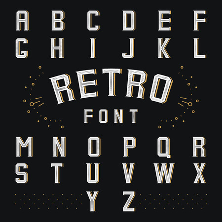 write abc: Chicago retro alphabet. Style abc, letter and font, language symbol, illustration