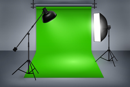 studio: Film or photo studio green screen. Interior with equipment, photography and flash spotlight. illustration Illustration