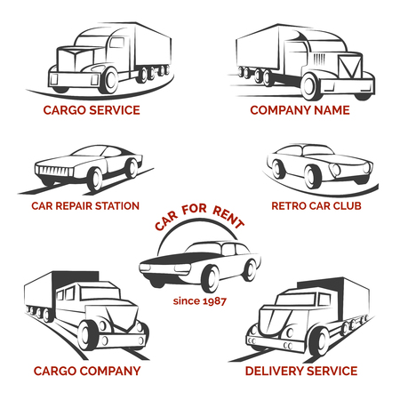moving company: Car club  set. Delivery and repair station, rent auto  truck and cargo transportation illustration