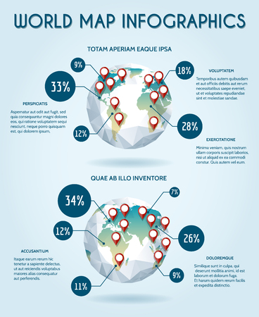 an analyst: World globe infographic in polygon style. Statistic earth, report data, share and analyst, illustration Illustration