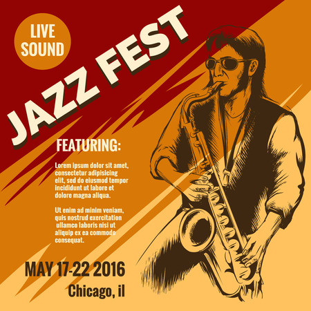saxophonist: Jazz music festival poster. Event and musician, saxophone instrument, saxophonist player, poster or placard, illustration Illustration