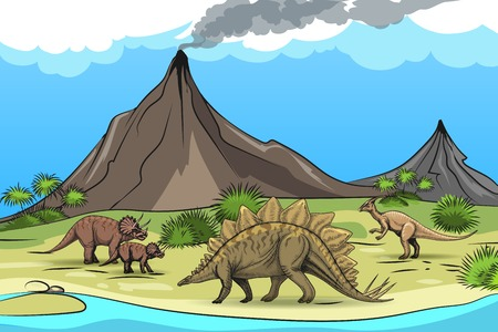 volcano mountain: Prehistory with dinosaurs volcano. Nature and reptile, tree palm, cartoon wild animal, illustration
