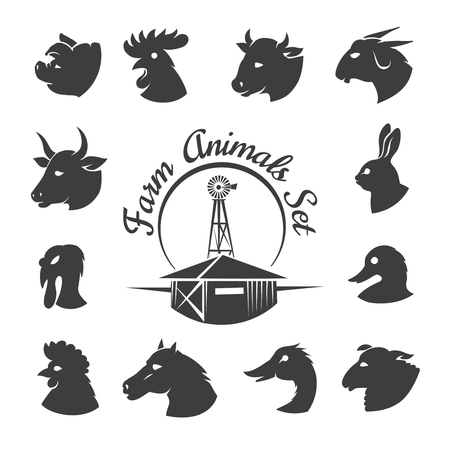 rooster: Farm animal meat icons. Rooster and horse, rabbit and goat, bird farming, ram and cock, bunny and bull, illustration Illustration