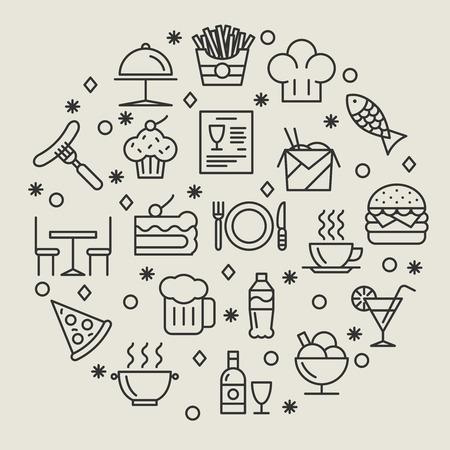 ristorante: Icone ristorante e cibi contorno impostati. Drink e salsiccia, pesce e vino, caffè e piatto, illustrazione Vettoriali