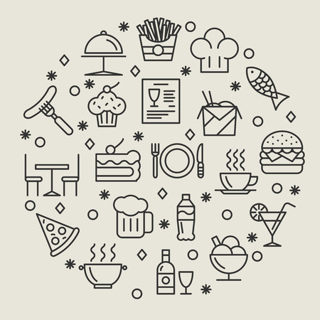 food and beverages: Restaurant and foods outline icons set. Drink and sausage, fish and wine, coffee and dish, illustration