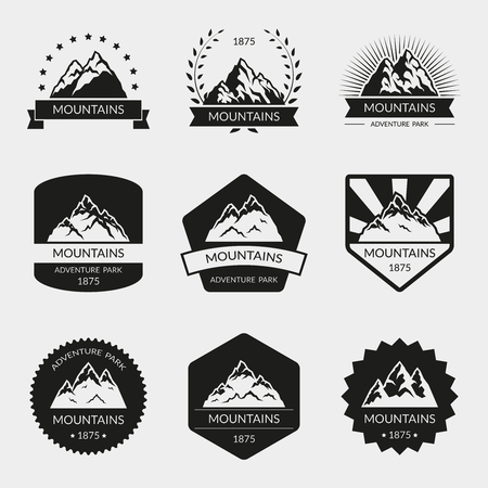 expedition: High mountain set. Peak and hill, climbing expedition illustration