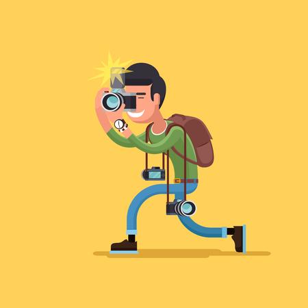Fotograf charakter. Operator kamery i profesjonalny, korespondent człowiek ilustracja