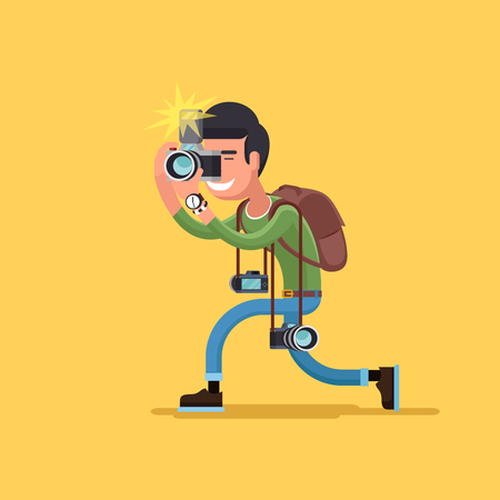 man with camera: photographer character. Camera and professional  operator, correspondent man illustration Illustration