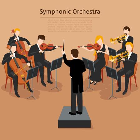 Symphonic orchestra. Music concert and sound symphony,   instrumental rhythm, illustration Vettoriali