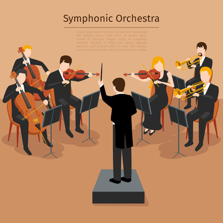 Symphonic orchestra. Music concert and sound symphony,   instrumental rhythm, illustration Vectores