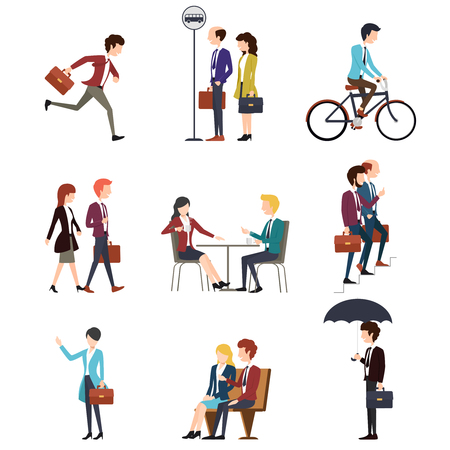 active: Business people urban outdoor activity. Work businessman, man, talking businesswoman. Men and women characters set. illustration