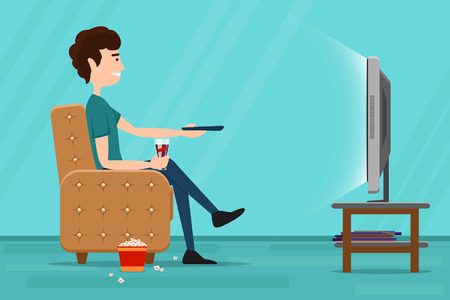 personas viendo television: Hombre viendo la televisión en el sillón. Tv y sentado en la silla, bebiendo y comiendo. ilustración plana