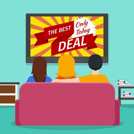 viendo television: La gente que mira la televisión la publicidad. Pantalla y comunicación tecnología de medios. ilustración plana