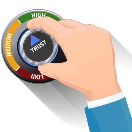 Trust knob button switch. High confidence level concept. Technical design, management modern, illustration