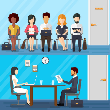interview: Business people waiting  job interview. Waiting businesswoman and businessman. Recruitment concept  flat design style. illustration