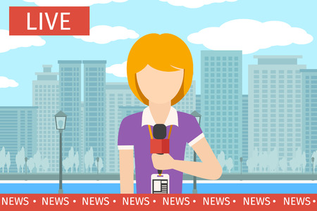 newsreader: News reporter woman. Journalist media, tv and microphone, television broadcasting, professional communication illustration