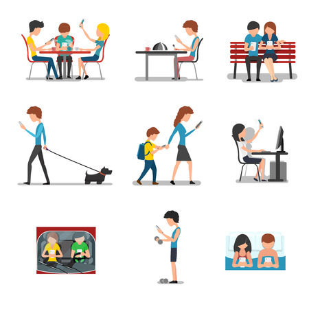 People different action use smartphone. Mobile device, social media and internet addiction. Networking and searching, playing and typing, chatting illustration Vectores