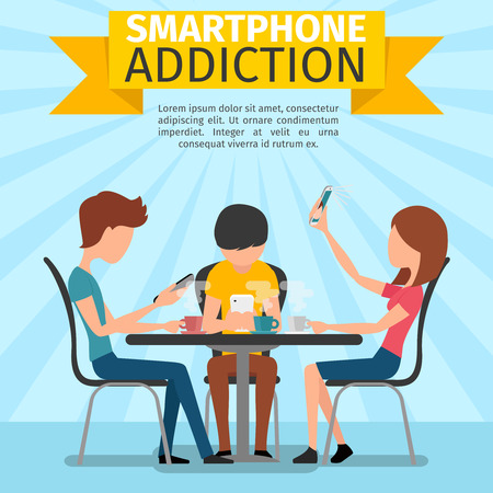 networking people: Smartphone, social media, internet addiction. Phone and people networking, searching and playing, typing and chatting, illustration