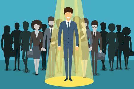 Zakenman in de schijnwerpers. Human resource recruitment. Persoon succes, werknemer en carrière. illustratie concept achtergrond Stock Illustratie