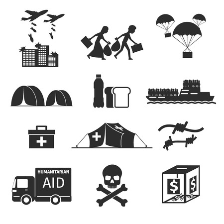 aid: Refugees evacuee concept. War victims black icons set. Bombing and help, humanitarian aid and evacuation, illustration Illustration