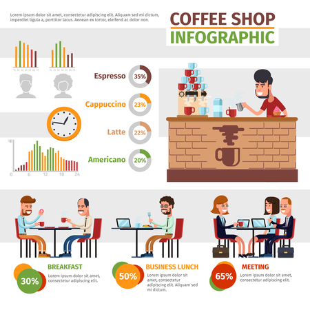 infochart: Coffee shop infographic. Preparation, lunch and meeting, cafeteria and infochart illustration Illustration