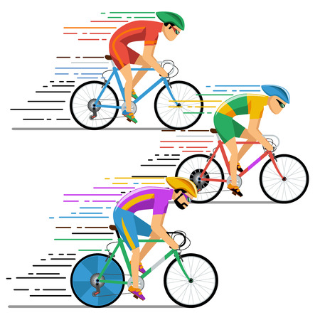 Cyclists bicycle racing. Characters flat design style. Bicyclist cycling,  competition, illustration Çizim