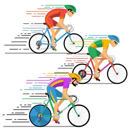 Fietsers wielrennen. Characters platte design stijl. Fietser fietsen, concurrentie, illustratie