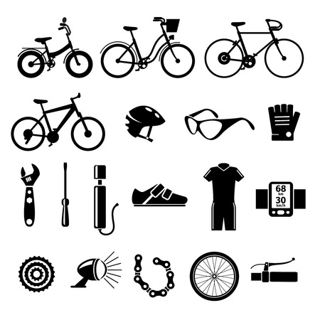 speedmeter: Bicycle, bike icons set. Lantern and speedmeter, wrench and screwdriver, pump and brake, illustration