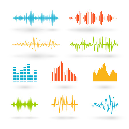 audio electronics: Color sound waves. Music technology, digital design, stereo equalizer, audio recorder, voice waveform, illustration Illustration
