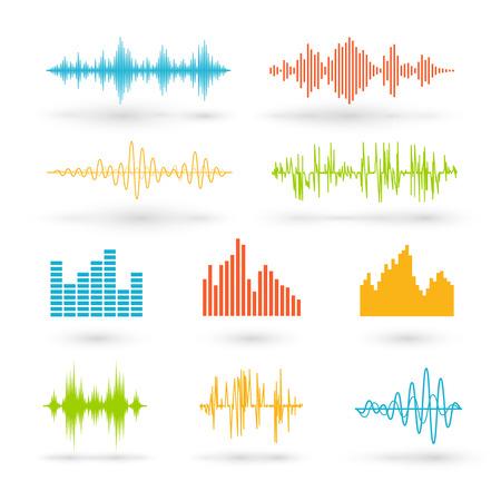 and sound: ondas sonoras color. Tecnolog�a de la m�sica, dise�o digital, ecualizador est�reo, grabadora de audio, la forma de onda de voz, ilustraci�n Vectores