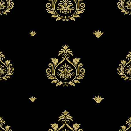 repetition: Seamless abstract black gold classic pattern.  Endless and repetition, royal textile design, illustration