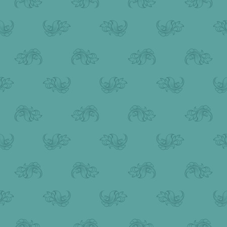 repetition: Seamless blue leaf retro pattern. Wrapping elegance, renaissance stylish, turquoise endless and repetition, illustration