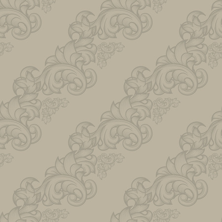 repetition: Damask vintage seamless pattern. Retro background, endless foliage, floral repetition, illustration