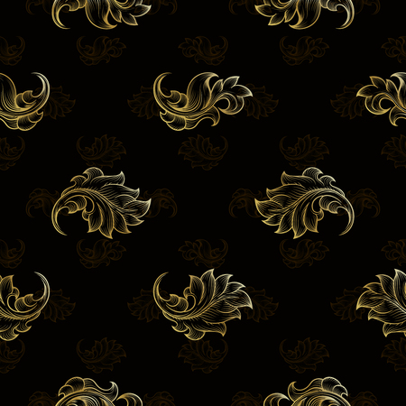 repetition: Gold vintage seamless floral pattern. Fashion endless floral repetition background, illustration Illustration