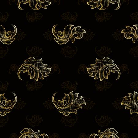 fashion background: Gold vintage seamless floral pattern. Fashion endless floral repetition background, illustration Illustration