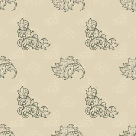 repetition: Seamless floral pattern. Background endless, repetition element, foliage flora, baroque and curve leaf, illustration Illustration
