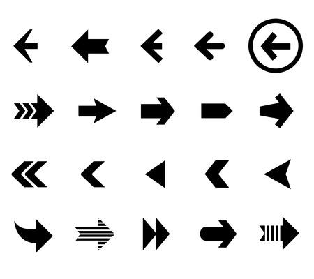 flecha derecha: Volver y el próximo iconos de flecha conjunto de vectores. Botón plano, el cursor interfaz de la ilustración
