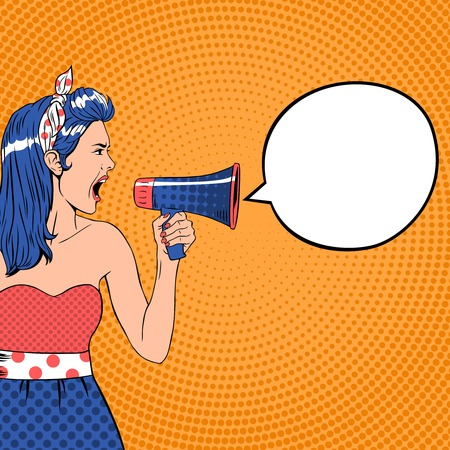 Pop art girl with megaphone and speech bubble. Loud and communication, announce shouting, retro announcement speaker, message voice, vector ilustration