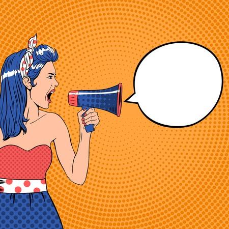 Pop art meisje met megafoon en tekstballon. Luid en communicatie, kondigen schreeuwen, retro aankondiging spreker, bericht stem, vector ilustration