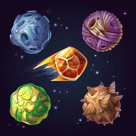 Fantastic planets, moons and asteroid sci-fi starry space background. Celestial astronomy and cosmos meteorite. Vector illustration in cartoon comic style Vettoriali