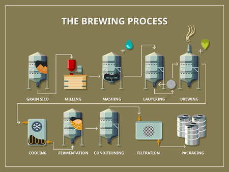 Brewery process infographic flat style. Production beer, alcohol and grain, silo and milling, mashing and lautering, vector illustration Vettoriali