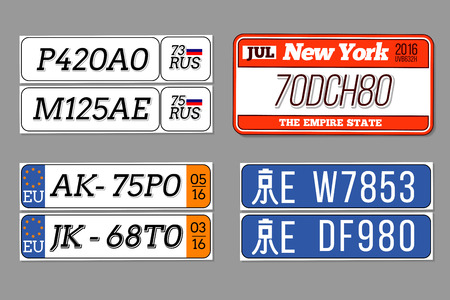 name tag: License car number plates set. USA, European Union, China, Russia. Design transportation abbreviation for auto. Vector illustration Illustration