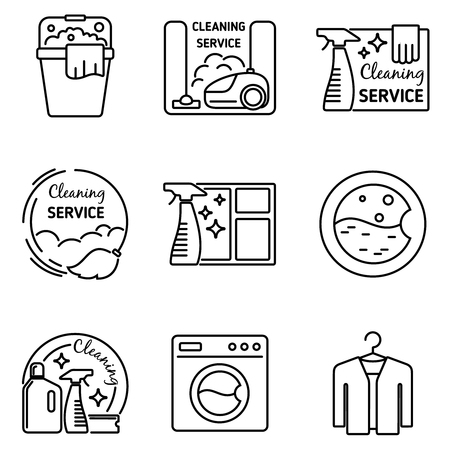 machine à laver: Nettoyage des icônes de la ligne de service. Vide et propre, laveuse et balai, ménage illustration vectorielle