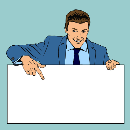 advert: Man holding advertising empty banner. Business blank, empty billboard, poster advertisement. Retro pop-art style vector illustration