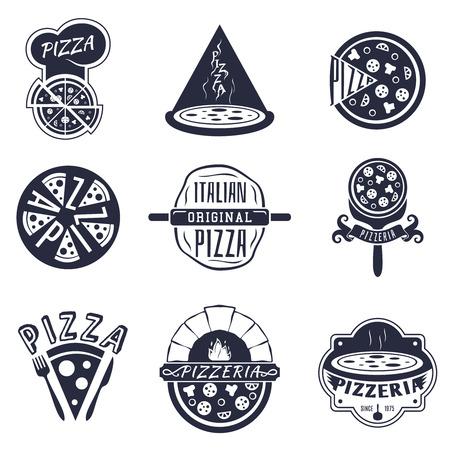 ビンテージ ピッツェリア ラベル、ロゴとエンブレムのセットです。食べ物ピザ、ベクトル イラスト