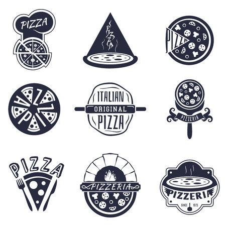 Vintage pizzeria labels, logos and emblems set. Food pizza, vector illustration